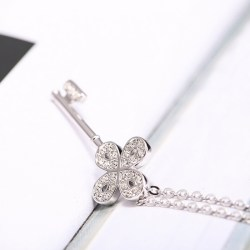 Swarovski施华洛世奇 四叶草系列 Mini 钥匙项链,镀白金色链坠