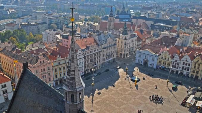 Ausblick auf den Platz der Republik in Pilsen