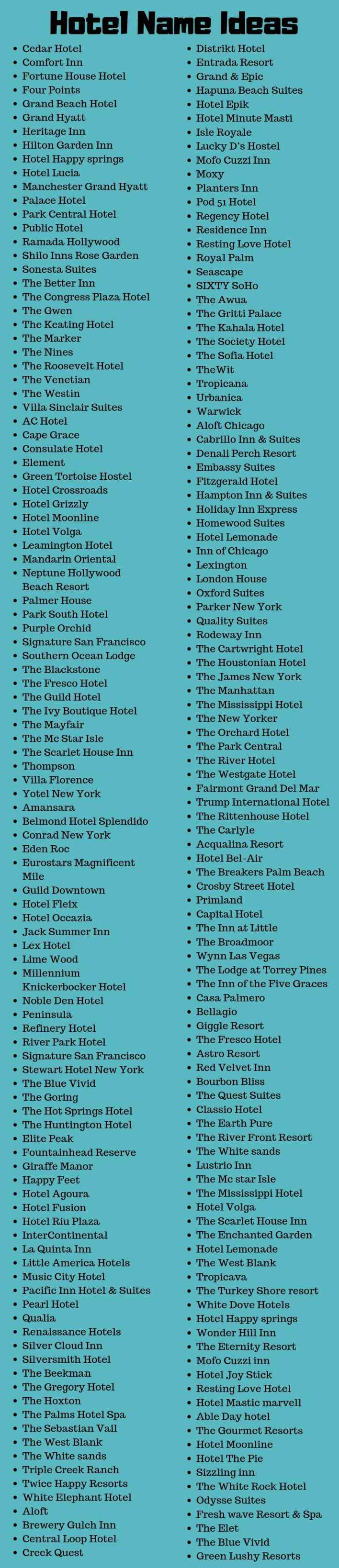 Hotel Names 400 Cool And Creative Hotel Name Ideas