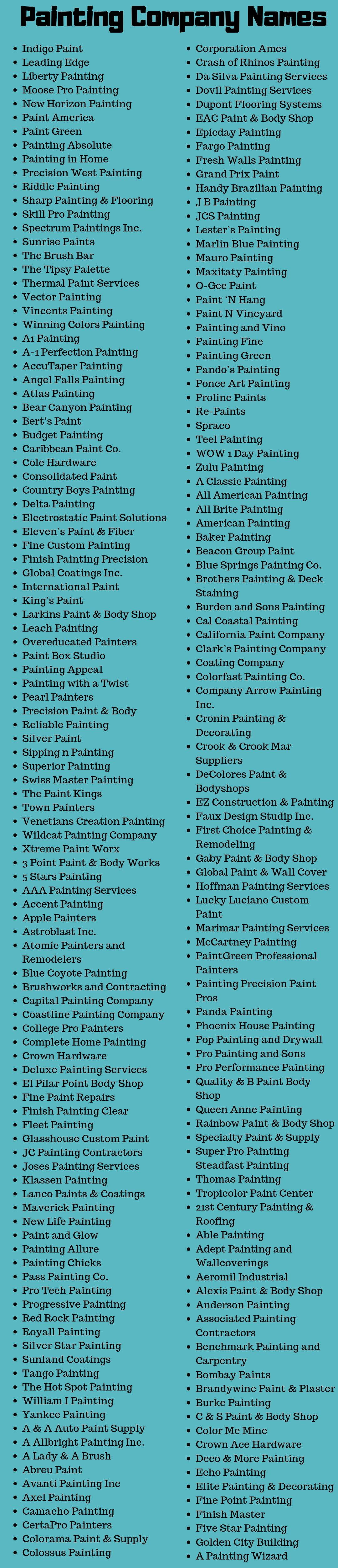 370 Painting Company Names Ideas Suggestions Worth Start
