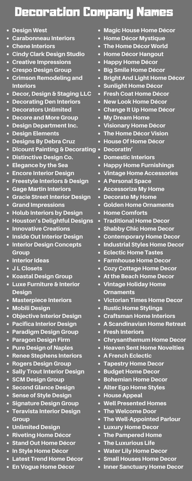 Decoration Company Names 200 Business Names For Home Decor