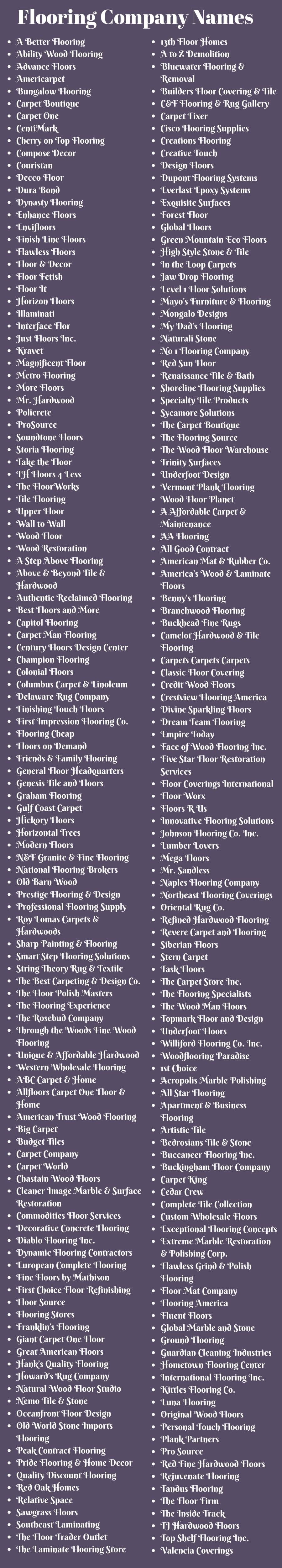 Flooring Company Names 400 Flooring Store Names Worth Start