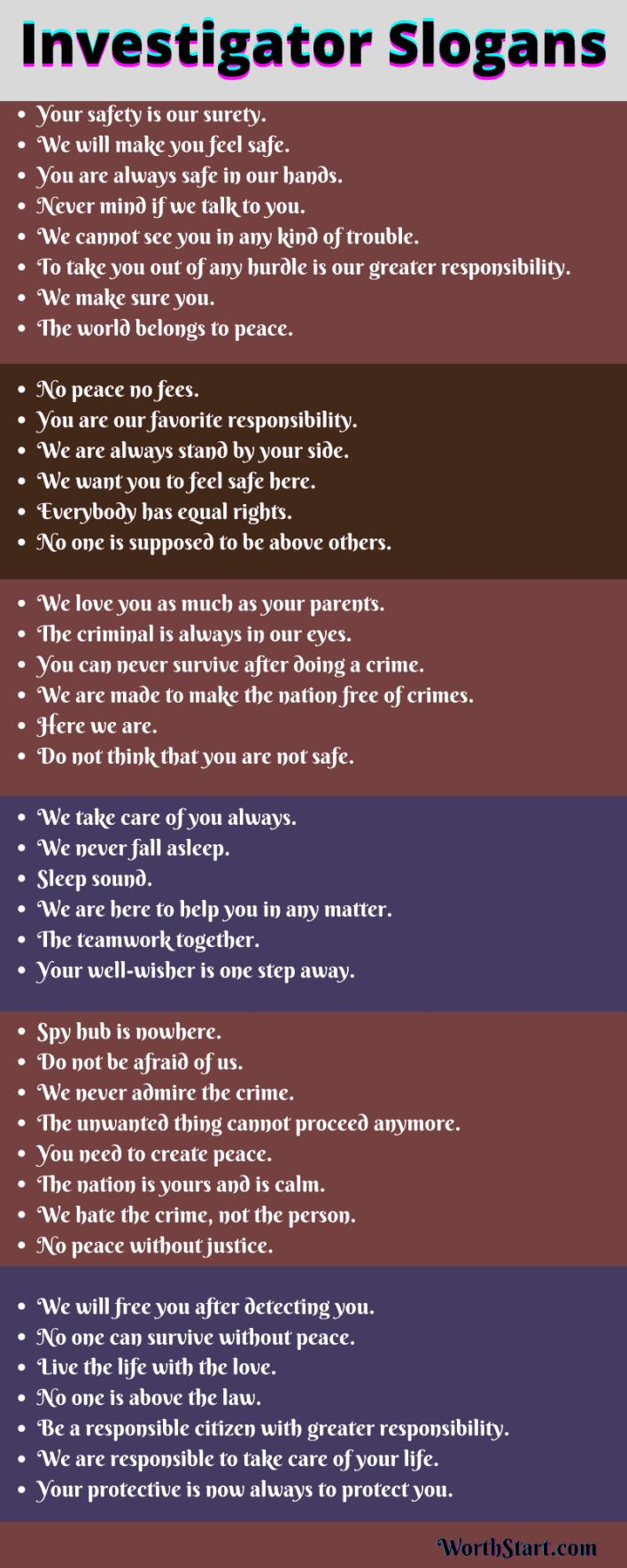 Investigator Slogans