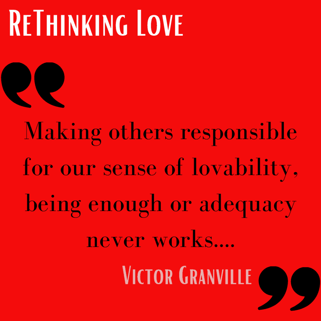 Red Background Text: Don't make others responsible for your lovability.