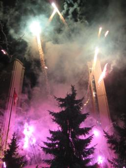 Christmas Lights switch on Fireworks at City Hall