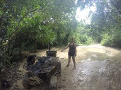 Getting stuck, and covered in mud
