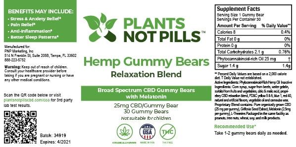 Plants not Pills hemp gummy bears dosage