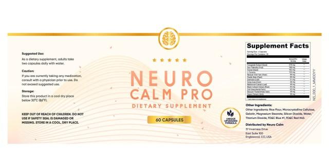 Neuro Calm Pro Ingredients
