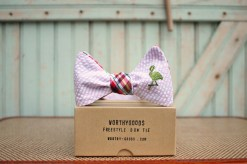 worthygoods madras pink seersucker flamingo bow tie on box
