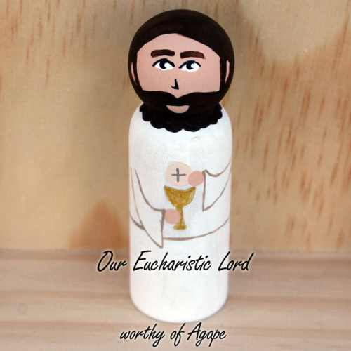 Jesus First Communion Peg Doll top angle