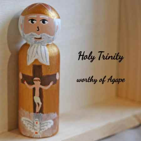 Holy Trinity peg doll front
