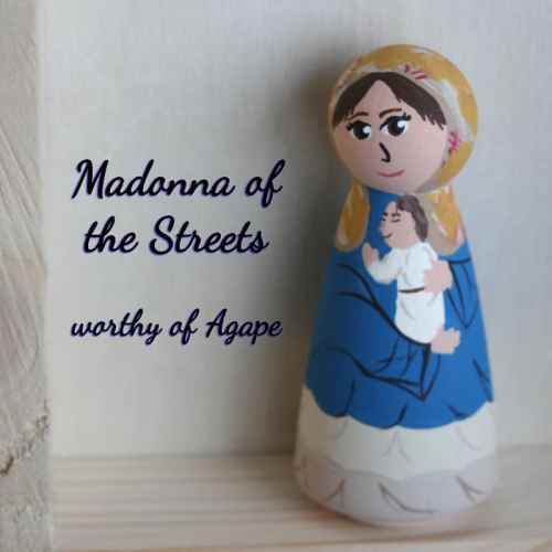 Madonna of the Streets peg doll front angle