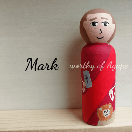 Saint Mark peg doll front view