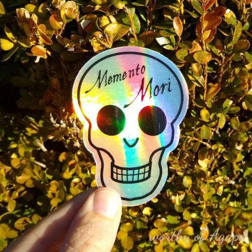Memento mori holo sticker on bush 2