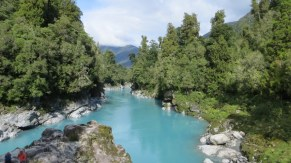 Hokitika Gorge on New Zealand's northwest coast. Watch out for the sand flies!
