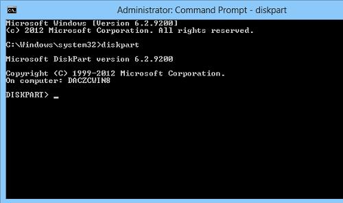 windows 8 run diskpart tool
