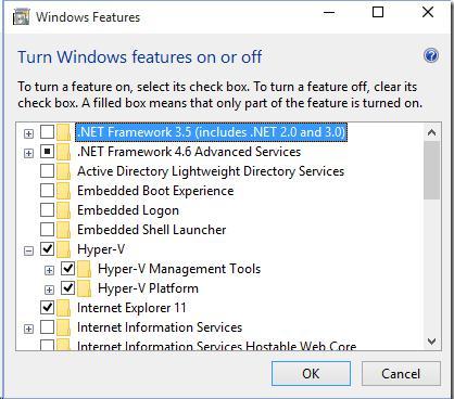 Hyper-V role  on  Windows 10