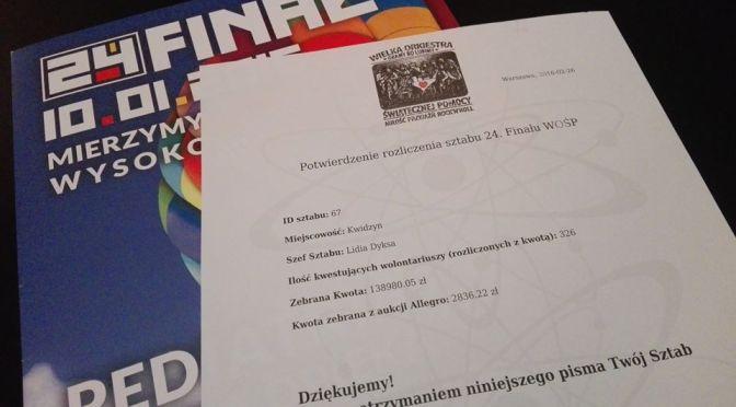 24. Finał WOŚP rozliczony!