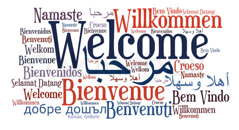 Welcome phrase in different languages. Word clouds concept.