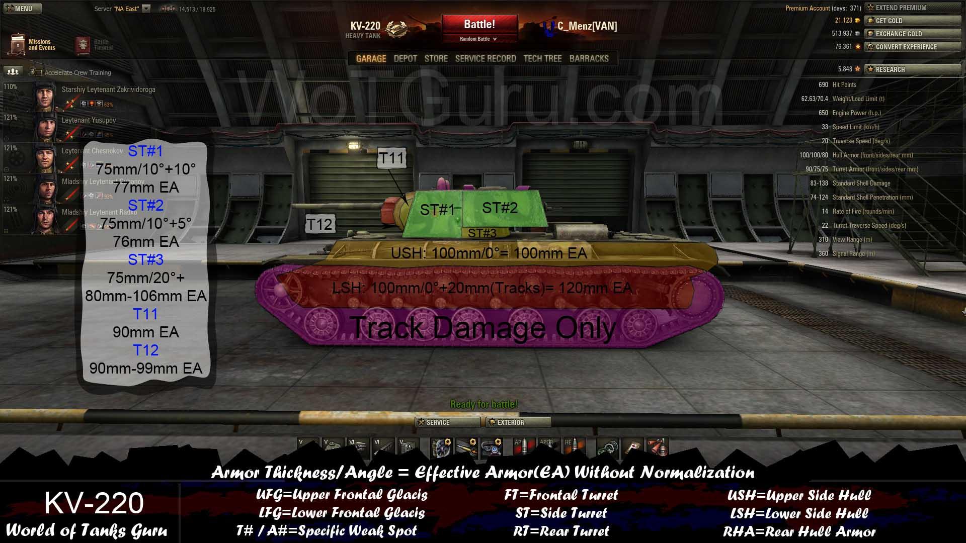Weak Spot Guide KV 220 WoT Guru