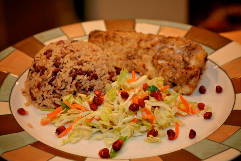 Jerk Cod with rice and peas and coleslaw