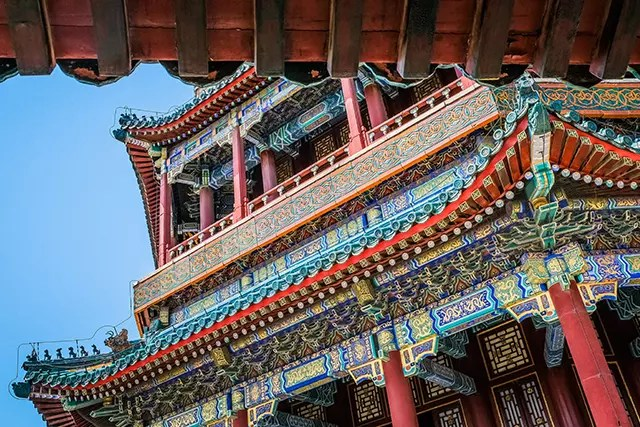 Close up of the Beijing Forbidden Palace with beautiful painted decorations
