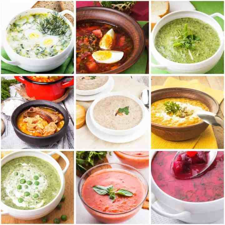 Collage of 9 different soups you can make in the Ace blender