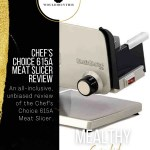 Chef's choice 615A meat slicer review image with black side bar and text