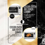 Cosori Oven Air Fryer Combo with two images on white and black and gold background with text