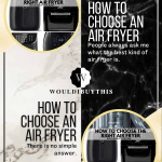 How to choose an air fryer two images with white black and gold background