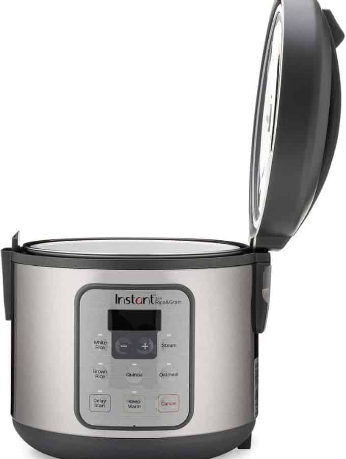 Instant Zest 8 cup rice cooker with the hinge lid open.