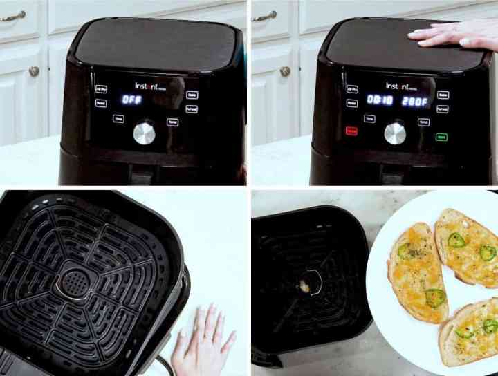 Multiple pictures of the inside and outside of  Instant Vortex air fryer.