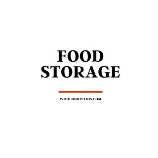 black text that reads food storage against a white background