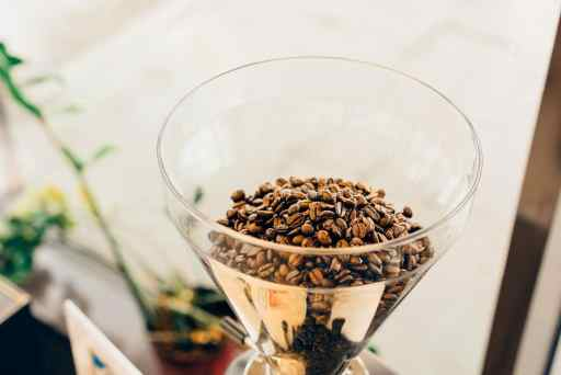 coffee beans in clear glass grinder
