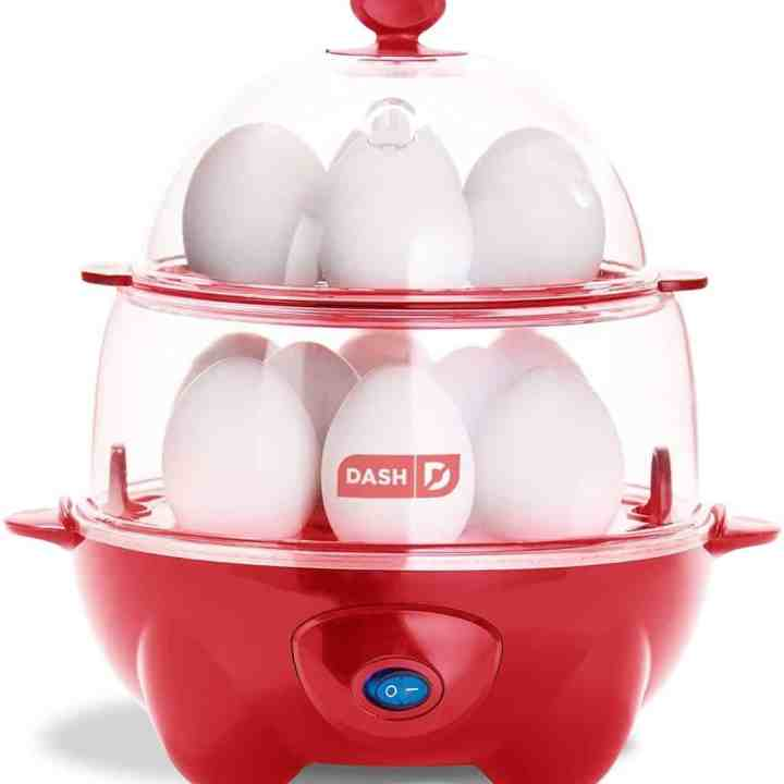 Image of a red dash egg cooker deluxe edition