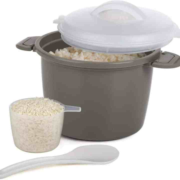 image of a microwave rice cooker with cooked rice inside