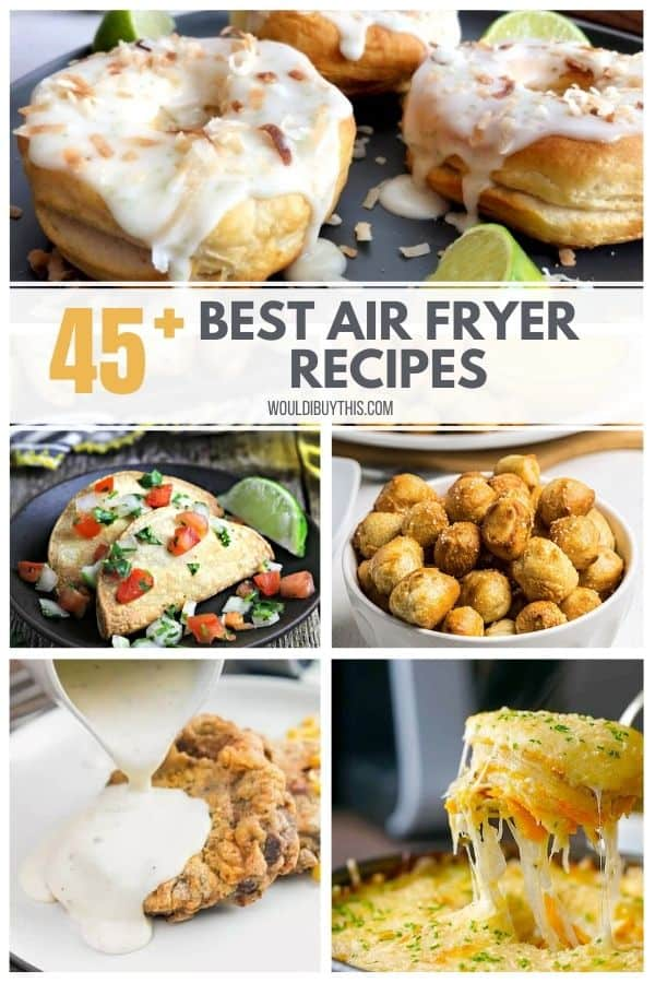 A collage of 5 air fryer recipes