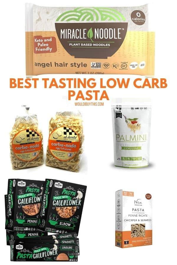 Image of 5 popular low carb pasta varieties