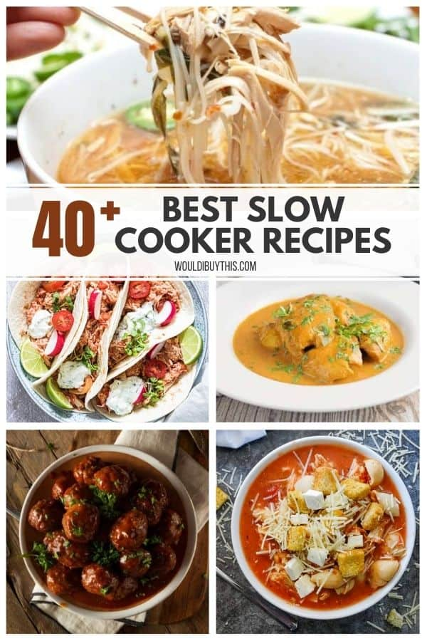 Collage of 5 slow cooker recipes