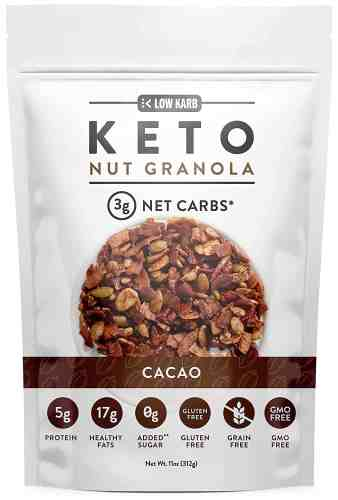 low karb keto cacao nut granola healthy breakfast cereal
