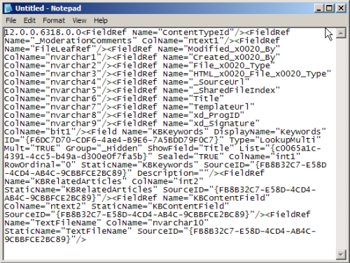 Contents of the tp_Fields column for the Knowledge Base template