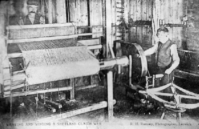 Weaving in Shetland in early 20th c. Image from Shetland Museum Photo Archive