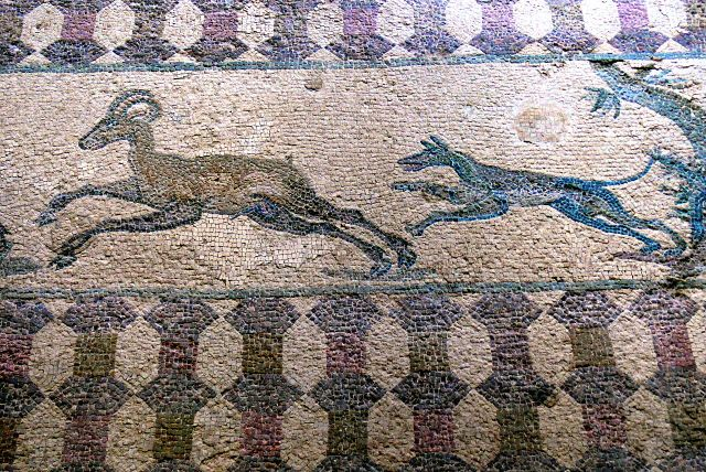 Mural detail from the House of Dionysus, Paphos Archaeological Park. Photo found in Wiki Commons and attributable to Wolfgang Sauber.