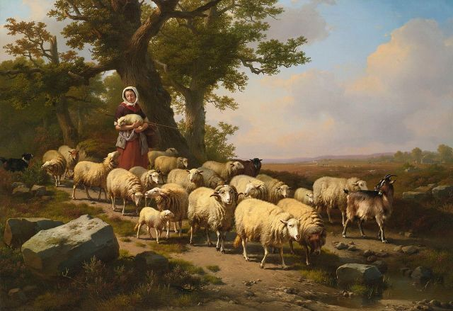 A Shepherdess and her flock, by the Belgian painter Eugène Joseph Verboeckhoven, (1798–1881)