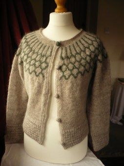 Linda Drage's yoke cardigan worked in Icelandic Lopi