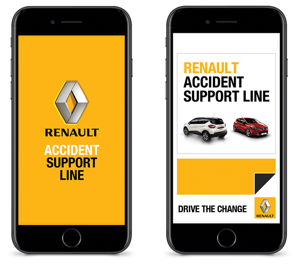 Renault Accident Support Line App developed by Woven's mobile app development team