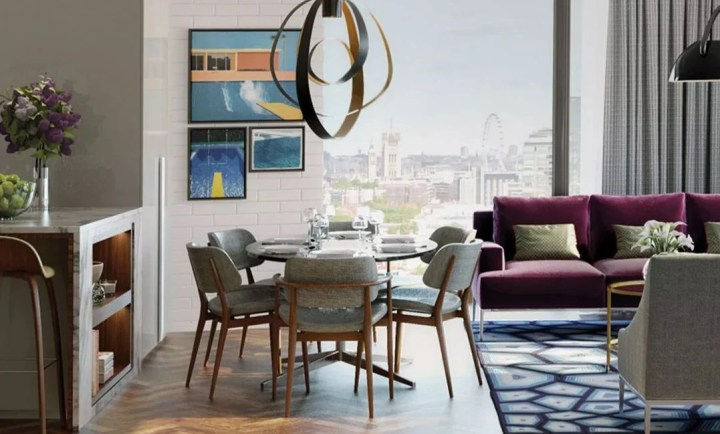 Inside of London Embassy Gardens luxury apartment