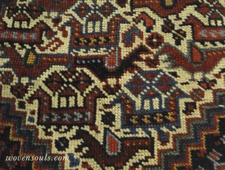 ANtique Persian Afshar bird rug