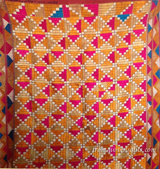 AFP-788 ANTIQUE PHULKARI WITH BLUE WITH INSCRIPTION DATED 1887 03