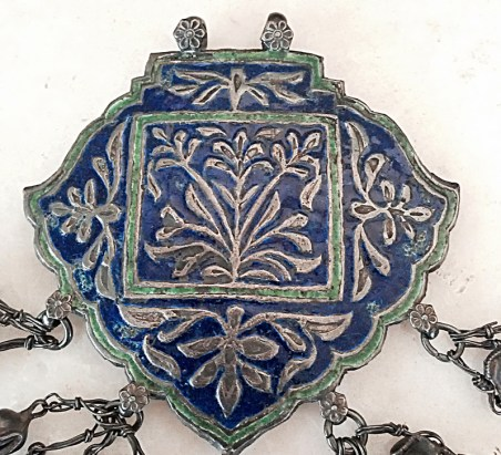 Large antique blue enamelled jewelry